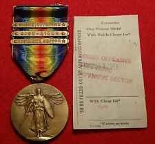 ORIGINAL WW1 US ARMY VICTORY MEDAL THREE 3 BARS SOMME WORLD WAR ONE PIN RIBBON 3