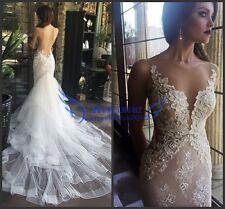 Unique Backless Sheer Mermaid Wedding Gown Bridal Dress Custom Size 8 10 12 14++