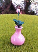 Miniature Fairy Garden Pink Rose Bud in Pink Ceramic Vase - Buy 3 Save $5