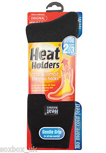 Mens Original Thermal Heat Holder Socks size 6-11 Uk, 39-45 Eur, Black