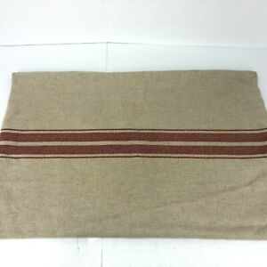 "Pottery Barn Pillow Cover Burlap Tan Red 16""x26"" Cotton Linen Rectangle"