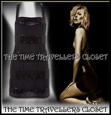 BNWT Kate Moss Topshop Negro Rayas Vestido con Lentejuelas Espalda Baja Correa de cruce UK6 8