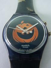 GN906 Swatch - 1998 Happy Nightmare Halloween Special Pumpkin Loomi Authentic