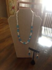 Handmade Necklace and Earrings Set Pearl, Turquoise & Silver Shell Bead