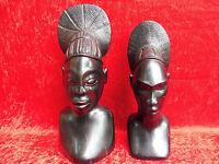 2 schöne Holzfiguren__Büsteen__Afrika__33 u. 29cm__Ebenholz__ !