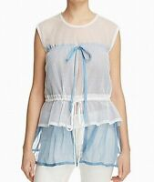 $410. DKNY Women's Medium M Blue Layered Mesh Panel Tiered Sheer Blouse Top NWT