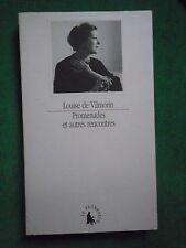 PROMENADES ET AUTRES RENCONTRES LOUISE DE  VILMORIN REPORTAGES