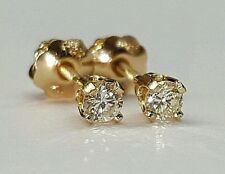 14k yellow gold 0.12 Ct round diamond solitaire stud earrings screw back