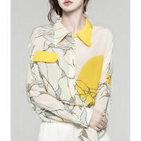 Fall New Silk Floral Chiffon Long Sleeve Shirt