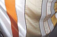 Dekostoff Vorhang Vorhangstoff bunte Streifen Stickerei Satin Doppelgeweb 0,5mtr