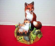 Franklin Mint First Adventure Fox & 2 Bables Figurine By Richard Ore W/Box & Coa