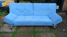 3 Seater Modern Design Blue Sofa Bed with Chrome Legs