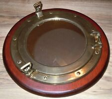 "11.5"" Antique Brass Finish Porthole Mirror Nautical Maritime Wall Decor ~ Window"