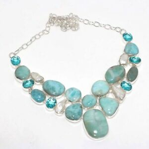 """Larimar Blue Topaz 925 Silver Plated Big Cluster Necklace 18"""" Ethnic Jewelry GW"""