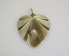 SOLID 10K YELLOW GOLD HEART PENDANT WITH PEARL ACCENT N394-X