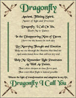 Dragonfly Prayer Poster Spirit Animal Wicca Pagan New Age Witch Goth Celtic Soul