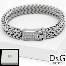 "NEW DG Gift Inc 9"" Men's Stainless Steel 12mm CZ Franco Chain Bracelet + Box"