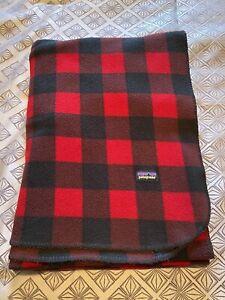 Patagonia Red & Black Plaid Synchilla Fleece Blanket 68x60