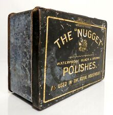 VINT 1920'S THE NUGGET BLACK BOOT POLISH USED IN THE ROYAL HOUSEHOLDS TIN, W/LID