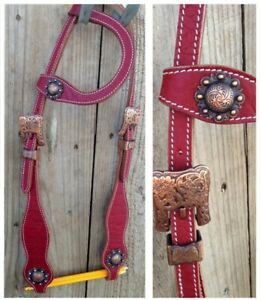 New maroon one ear western bridle feature stunning antique look buckles full sz