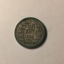 1928 Netherlands Silver 25 Cents (.640) Wilhelmina (Id-190)