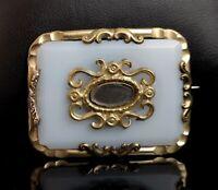 Antique Victorian 9ct gold mourning brooch, hairwork, opaline glass