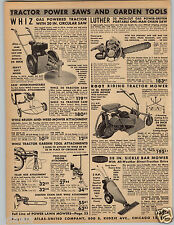 1954 PAPER AD Root 3 Wheel Riding Lawn Tractor Luther Chain Saw Falls Mower