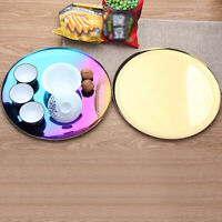 Golden Effect Serving Tray Platter Mirror Polished Table Metal Dinner Dish Plate