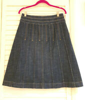 Principles petite denim skirt Size 10 A-line with Panel Pleats Dark Blue