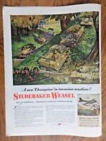 1944 Studebaker Ad WW 2 Army's Champion in Invasion Warfare Studebaker Weasel