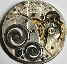ELGIN NATL MILITARY POCKET WATCH MOVEMENT 17 JEWLES FOR PARTS/REPAIRS #W667