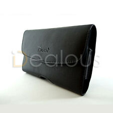 For HTC One M8 Premium Black Leather Holster Pouch Case Cover Belt Clip