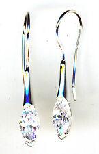 """925 Sterling Silver Clear Cubic Zirconia 1 Piece Drop / dangle Earrings L.1.1/3"""""""