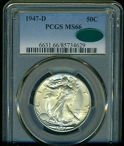 1947-D WALKING LIBERTY PCGS MS66 CAC --- ATTRACTIVE, CLEAN BRIGHT WHITE COIN
