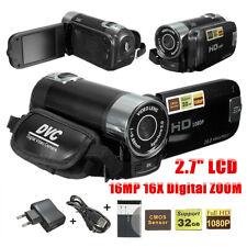 Digital Video Camcorder Vlogging Camera Full HD 1080P 2.7'' LCD 16X Zoom Black