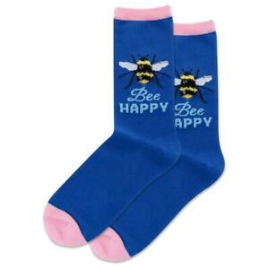 Bee Happy Hot Sox Women's Crew Socks Dark Blue New Novelty Pollinator Fashion