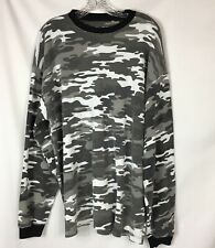 Men's Long Sleeved Camo Thermal Shirt Large