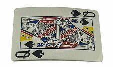 Queen of Spades Belt Buckle Playing Card Silver Chrome Casino Gambling Women Men