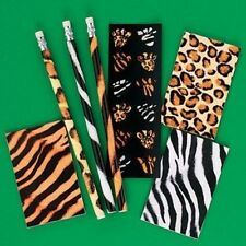 36pc ANIMAL PRINT STATIONARY SETS 12 PENCILS 12 NOTEPADS 12 STICKERS