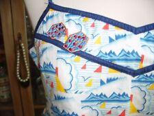 Laura Lees @ TopShop Blue & White Sailboat Cotton Blouse Anchor Dice BNWT Large