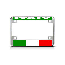 ITALY Flag Metal Motorcycle Bike License Plate Frame Tag Border