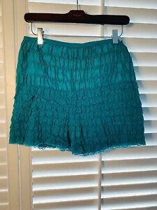 Vtg MCM Granny Panty Underwear Bloomer Lace Ruffles Pin Up Lingerie Green Medium
