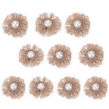 10pcs Handmade Vintage Wedding Burlap Hessian Jute Flower Pearls Rustic Decor