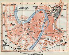 Pianta di Verona. Carta Topografica,Geografica.Stampa Antica + Passepartout.1891