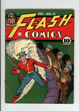 FLASH COMICS #12 - NICE VG  RARE EARLY FLASH, HAWKMAN, MORE! 1940 BRIGHT COLORS