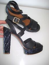 Tory Burch Vanetta Navy Leather Basketweave Platform Sandal Heel Shoes US 8.5