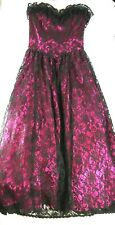 VTG Gothic Wedding Dress Formal Prom Gown Black Lace Hot Pink, Size 3, Gunne Sax