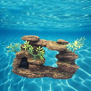 Aquarium Mountain Ornament Artificial Fish Tank Decor Play Hideout Cave Rock
