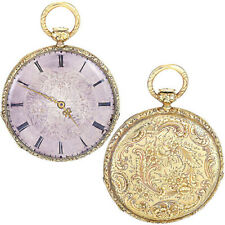 ENGRAVED 18K GOLD CASE QUARTER HOUR PUMP REPEATER POCKET WATCH CA1870S