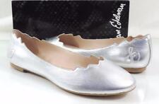 Women's Shoes Sam Edelman AUGUSTA Scalloped Ballet Flats Leather Silver Size 9